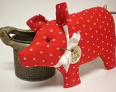 Pig - Made To Order, Red with White Dot Fabric Pig, Piggy Pillow Tuck, Pig Shelf Sitter, Valentine's Day Decor