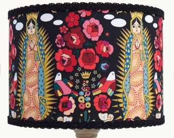 Mexican Folklore Style Black 'Virgencita' 30cm Diameter Lamp or Ceiling Shade