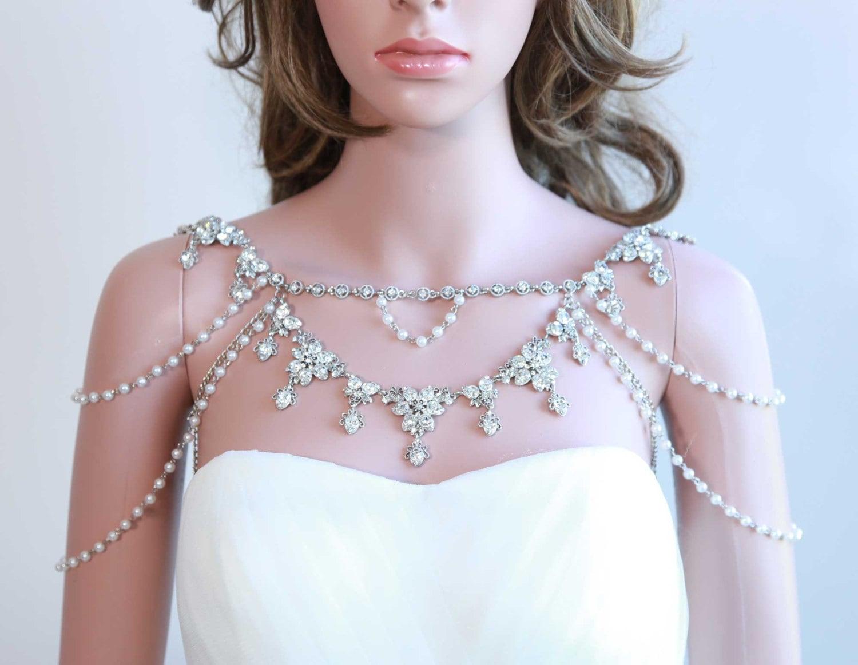 Shoulder Necklace Bridal Necklacepearl Lariat By Blinggarden
