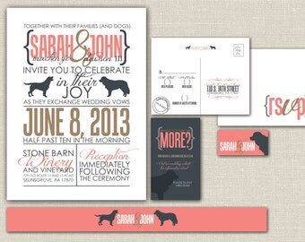 "Printable Wedding Invitation, RSVP, Info card, monogram and a custom pet silhouette - Modern, Custom design-  ""Dog-Lover Devotion"""