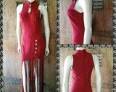 Vintage Red Bodycon Fringe Dress