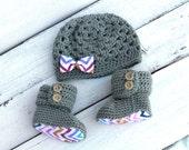 Hat and Booties, Baby Girl Set, Crochet Baby Booties, Baby Girl