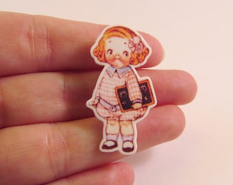 Dolly Dingle in Pink Illustrated Brooch - Paper Doll Jewellery