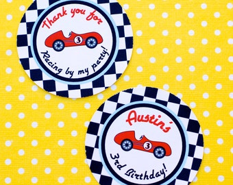 Vintage Race Car  Circle Stickers  - set of 20 - 2.25 inch