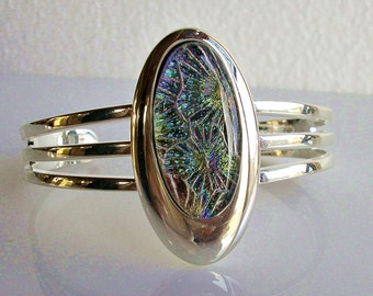 Sunburst Dichroic Fused Glass Cuff Bracelet Fused Glass Jewelry Dichroic Jewelry Contemporary Jewelry