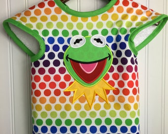 Kermit the Frog Bib - The Muppets - Embroidered Applique Disney Boy's Baby Toddler Bib Rainbow Connection