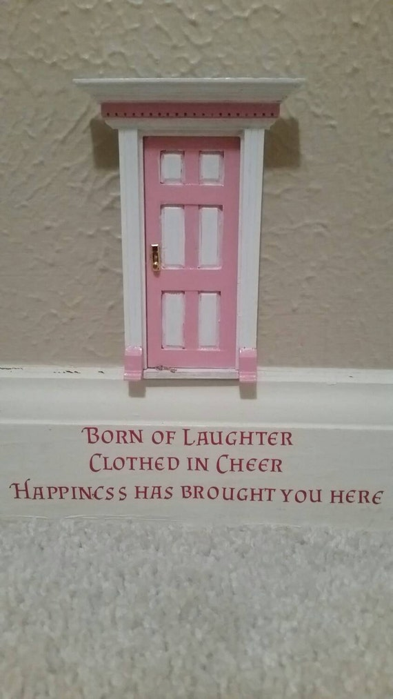 Fairy door with vinyl quote from tinkerbell little by for Tinkerbell fairy door