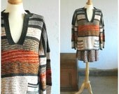 70's BOHO STRIPED SWEATER - Fall Trends / Boho Chic / Earthy Colors / Hippie Love / Size Medium