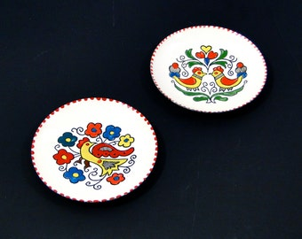 Greek Art Enamel Plates // Set of Two // Hand Painted Birds // Vintage Wall Hanging circa 1950s