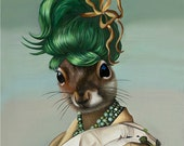 Package of three greeting cards: Green Bun Squirrel. Pop Surrealism Animal Art