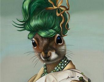 Package of three greeting cards: Green Bun Squirrel. Pop Surrealism Animal Art