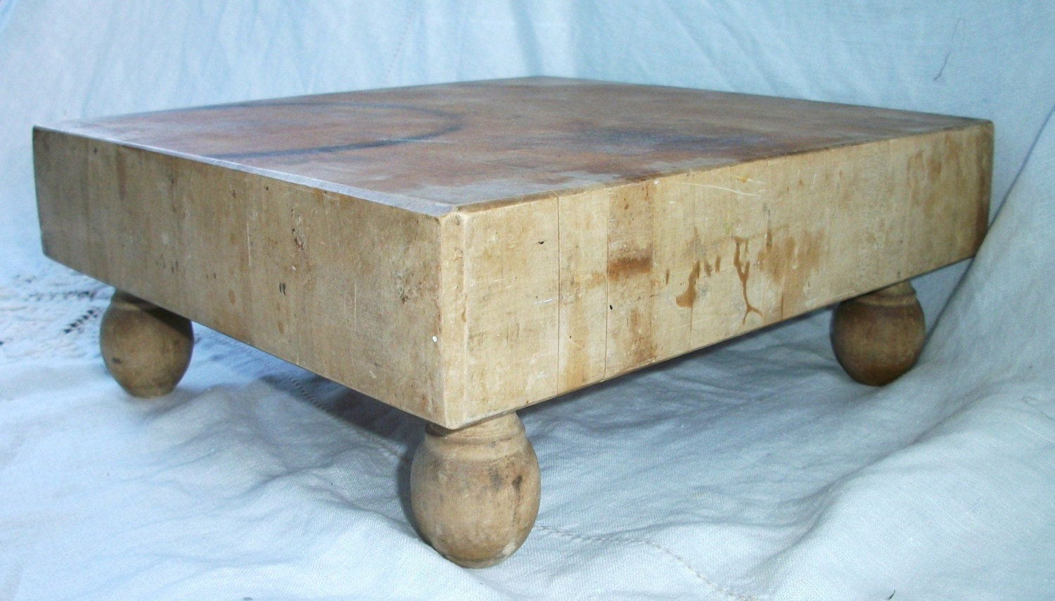 vintage wood butcher block chopping table counter top w. Black Bedroom Furniture Sets. Home Design Ideas