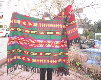 Oversized tribal PONCHO-shawl wool blend flannel blanket scarf-Tribal-Turkish kilim,mexican shawl scarf,woman man winter fashion scarves2012