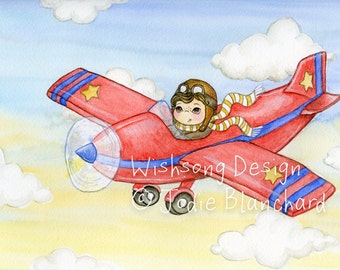 "Boy and Red Plane ORIGINAL watercolour painting ""Flying High"", childrens art, boys room decor, kids wall art, nursery decor, aviation theme"