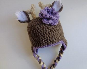 Newborn Crochet White Tail Deer Hat- Girls Hat- Photo Prop- Purple