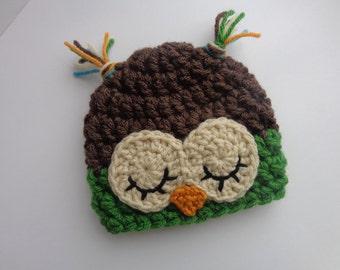 Newborn Baby Crochet Sleepy Owl Hat, Brown and Green, Photo Prop