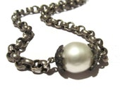 Pave Diamond, Pearl Chain Necklace, Soiltaire Pearl Necklace, Chunky Silver Chain and Pearl Choker, Artisan Handmade by Sheri Beryl