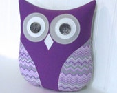 decorative purple owl, purple pillow, purple and gray nursery decor, gray and purple chevron owl pillow by whimsysweetwhimsy