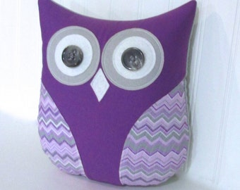 Purple pillow, purple grey nursery decor, purple owl, nursery pillow, grey and purple chevron pillow, nursery animal by whimsysweetwhimsy