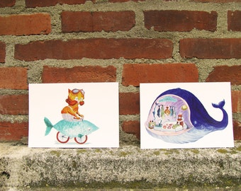Hipster Cat & Funny Whale postcards - nautical cute illustrations, for fishing or cycling lovers