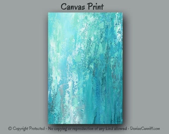 Large Wall Art Turquoise Grey Home Decor Teal Bedroom Canvas Print Of Abstract