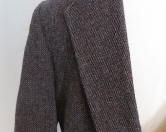 Vintage wool suit jacket, mens sportsjacket, sportcoat, blazer, size 42 Botany 500, brown black teal blue red