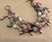 Heart Chakra Multi Strand Bracelet - Love Romance - Prehnite Rose Quartz Garnet Rhodonite Jade Moonstone Aventurine - Reiki Infused Jewelry