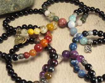 Set of 7 Reiki Infused Stretch Chakra Bracelets - Custom Made - Root Sacral Solar Plexus Heart Throat Brow Crown - Stacking Yoga Balance