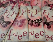 Tags - set/5 - large, mixed media, butterflies, FLY free, pink purple burgundy