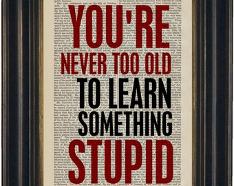 You Are Never Too Old To Learn Something Stupid   Print on repurposed  Vintage Dictionary  Page  mixed media