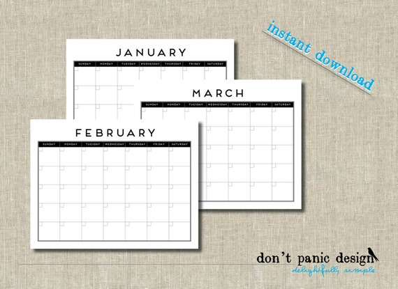 Monthly Calendar No Dates : Modern no date printable monthly wall calendar month