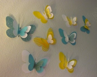 3D butterfly wall art, nursery wall art,  table butterflies, yellow and turquoise butterflies 8 count--Ready to ship