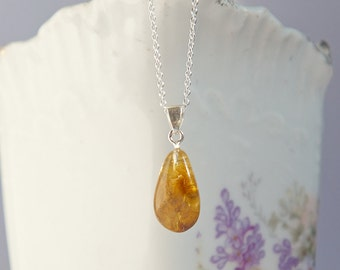 Small honey orange natural Baltic amber pendant, natural amber with inclusions, sterling silver amber with inclusions pendant with necklace