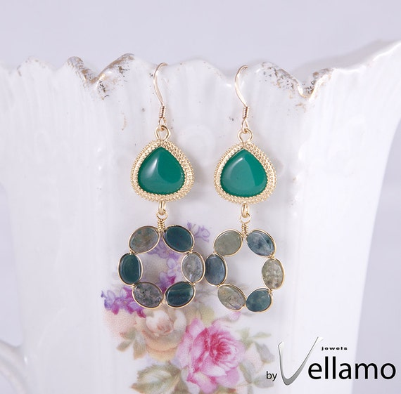 Beautiful gold plated earrings with Indian agate green gemstones, gold plated wire and 14K gold filled earring hooks