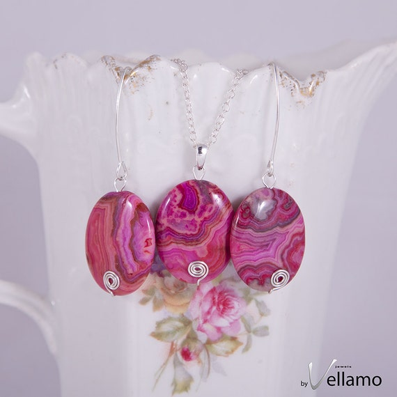 Pink crazy lace agate sterling silver earrings and pendant set, gorgeous fuchsia pink red agate gemstones, marquis hooks