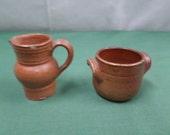 2 Piece Lot of Vintage French Stoneware Dollhouse Miniature Pottery (v236)