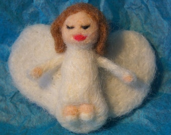 Sweet Little Hand Felted Guardian Angel Can be an Ornament