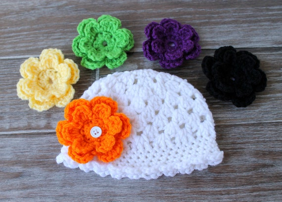 Interchangeable Flower Beanie Crochet Baby Hat by ...