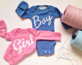 Swanky Shank Gender Reveal Hand Dyed Blue or Pink Bodysuit, Girl or Boy