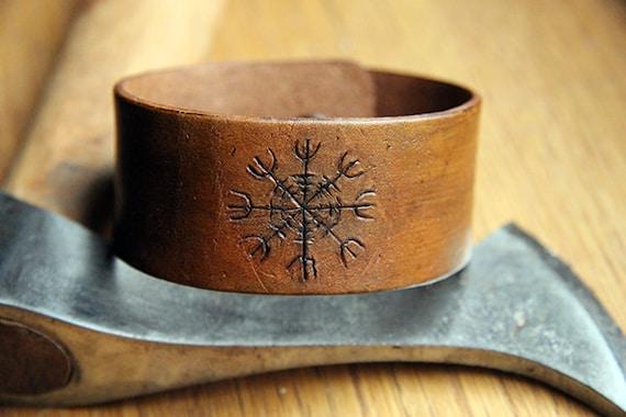 Aegishjalmar Norse Viking Rune Leather Cuff By Theknottedraven
