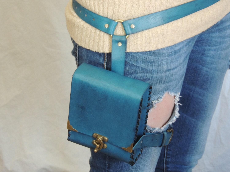 Blue Leather Adventure Pouch Belt Leg Bag By