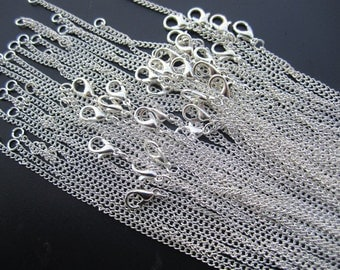 50pcs bright silver chain necklace flat chain with lobster clasp