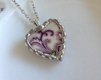 Broken China Purple Heart Necklace