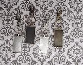 12 Key Chain Kits - 12 Lobster Clasp - 12 Split Rings - 12 25x50mm Rectangle Pendant Trays -12 25X50mm glass