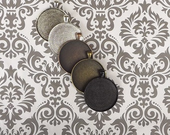 50 38mm Blank Pendant Trays, mix and match, bezels, blank pendants cabochon setting 25mm
