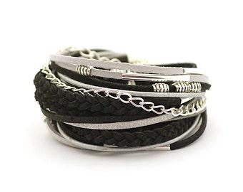 Silver Black Bracelet Wrap Bracelet, Gypsy Boho bracelet, Bohemian Jewelry, gift for her, boho chic