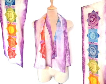 Chakra silk scarf Painted scarf or wall decor