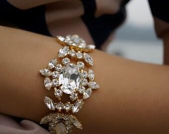 SALE Marylin - Milky Opal and Crystal Clear Swarovski CrystalsWedding Bracelet, Statement Bracelet - Ready to Ship