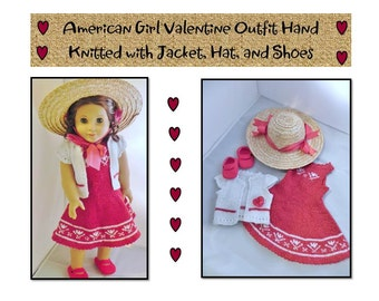 American Girl Valentine Outfit Hand Knitted with Jacket Hat and Shoes Doll Dress One of a Kind