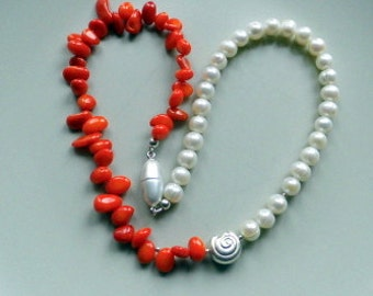 Pearl necklace, coral necklace, necklace, Pearl, coral, red, white, magnetic clasp